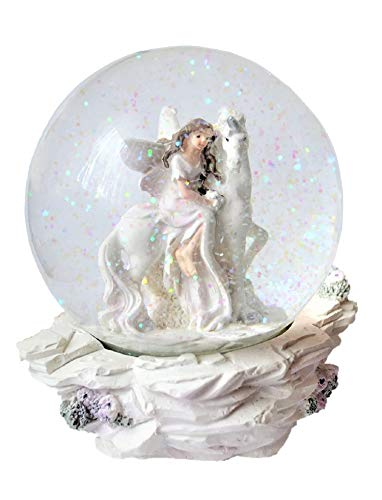 Geschenkestadl Schneekugel Einhorn mit (Elfe sitzt)
