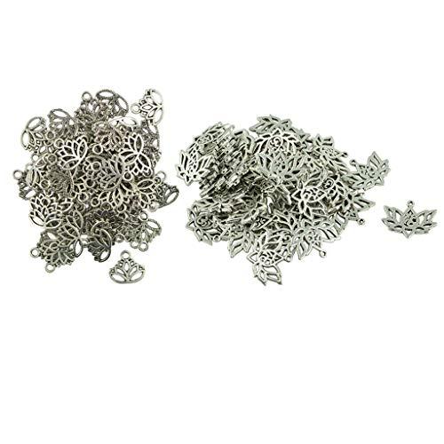 yotijar 100 colgantes con forma de flor de loto vacía, para crear joyas artesanales.