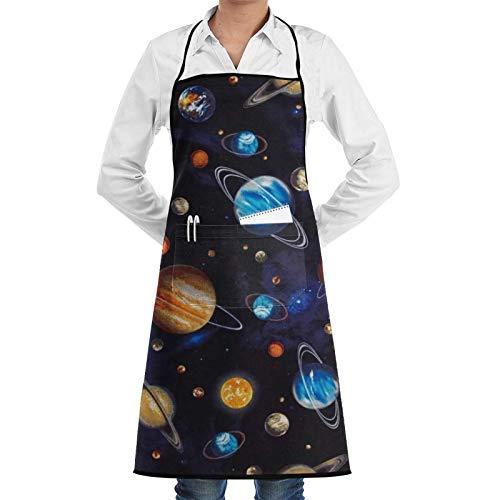 wallxxj Kitchen Aprons Universe Planet Moon Sun Earth con Bolsillos Delantales De Cocina Delantal De Chef Patrón Día De La Madre Delantal con Babero Regalos Navidad Mujeres Hombres para P