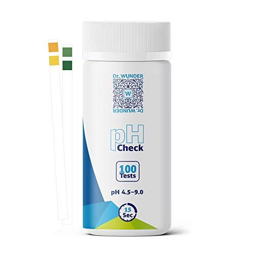 Dr. Wunder® pH-Check: 100 hochwertige Teststreifen |bestens geeignet für die genau pH-Messung im Urin & Speichel |ideal zur Säure-Basen-Kontrolle | exaktes Ergebnis in nur 15 Sekunden