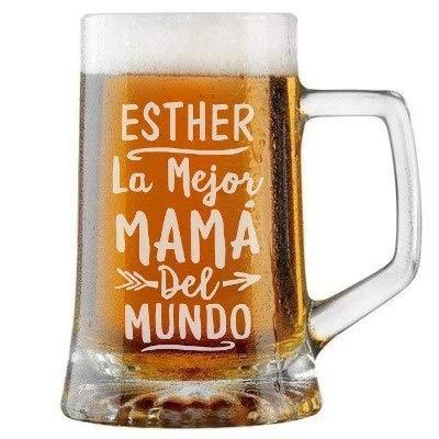 Jarra de Cerveza Personalizada MEJOR MAMÁ MUNDO. Regalo Grabado y Personalizado para Hombre o Mujer. Detalle para Celebraciones Cumpleaños Aniversario Regalo Día de la Madre Jubilación. Regalo