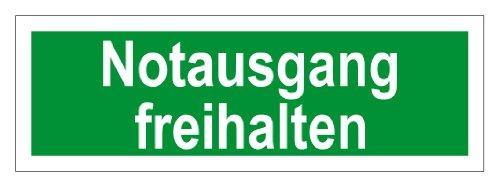 Rettungswegschild aus Folie - Notausgang Freihalten - 10 x 30 cm