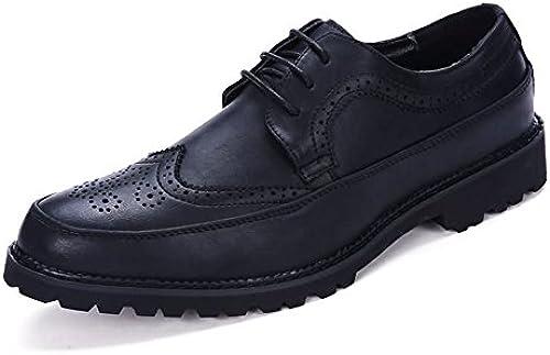 Z.L.F Herren Oxfords Schuhe Flache Ferse Schnüren PU Leder Freizeit Tooling Business Formelle Schuhe (Farbe   Schwarz Größe   7MUS)