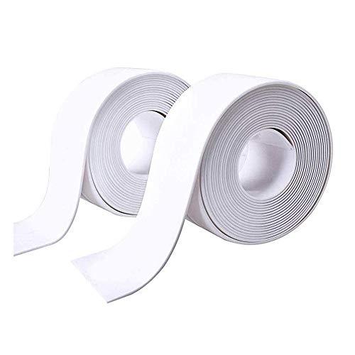 Caulk Strip,2 Pack Self Adhesive Sealing Tape Bathtub PE Waterproof Sealant Caulk Tape Toilet Bathroom Shower Kitchen and Wall Sealing Strip Trim 38mmx3.2m