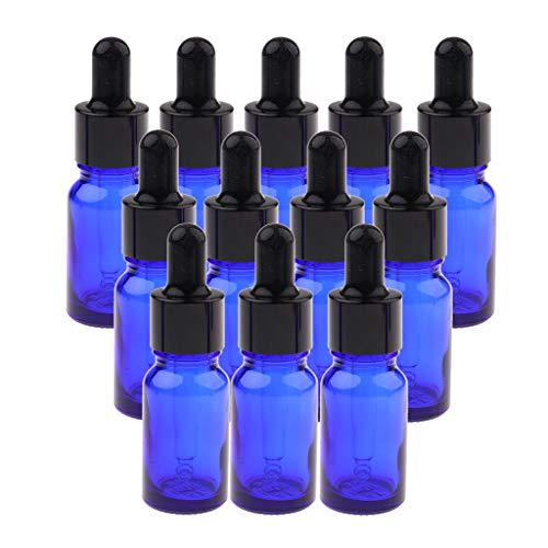 Hellery 12x Bouteilles D'huile Essentielle Réutilisables Vides De Flacons Cosmétiques Liquides, Compte-gouttes - 15ML