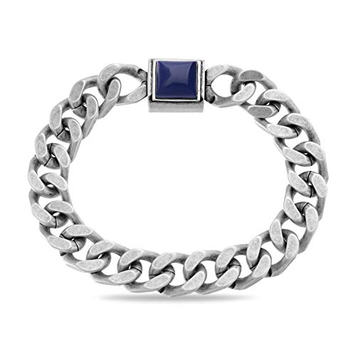 Steve Madden Men's Blue Simulated Lapis Square Design Curb Chain Bracelet in Stainless Steel, Silver-Tone, One Size