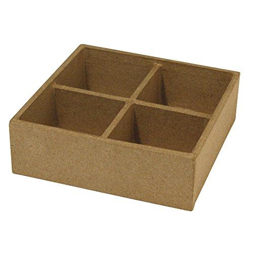 Rayher 7140400 Pappmaché-Schale Quadrat, 12,5x12,5x4 cm, mit 4 Abteilen für Kerzengläser