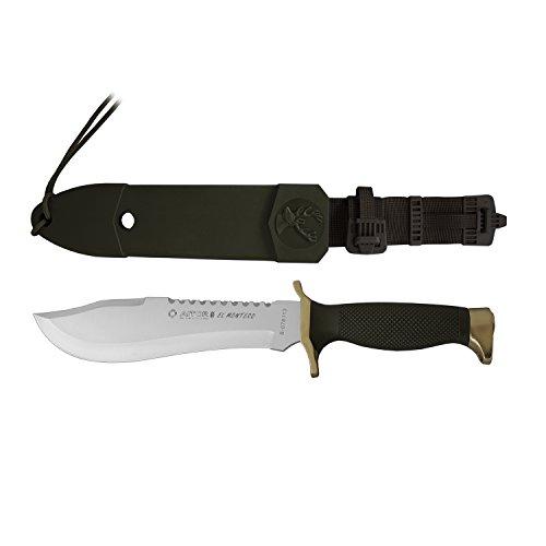 AITOR 'EL Montero' Messer mit 21,5 cm Klinge, 12,5 cm grüner Polyamidgriff, Multifunktionskarte und Geschenk Taschentuch Desenfunda