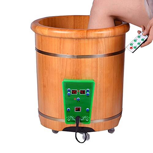 Nadaenzu houten voetbad met afstandsbediening, verwarming, thermostaat, badkamerbarrel met elektrische gezondheid wastafel automatische massage
