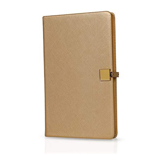 MARSACE A5 Taccuino Impermeabile Bloc Notes Diario Di Viaggio Classico Affari Quaderno Journal PU 96 Fogli 21x13 CM per Personale Dell'ufficio D'oro