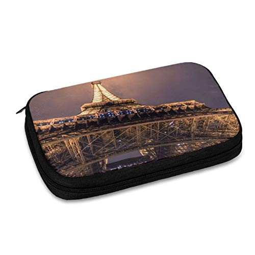 Architecture Night of Paris Electronic Organizer Small Travel Cable Organizer Bag for Hard Drives,Cables,Charger,Phone,USB,Sd Card