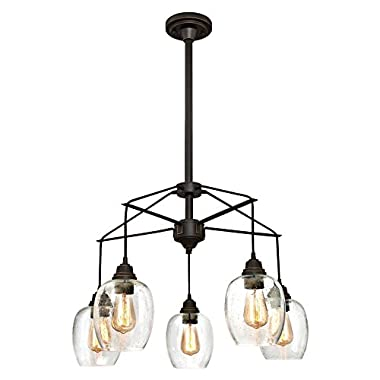 Westinghouse 6333100 Eldon Five Indoor Chandelier, Oil Rubbed Bronze Finish with Highlights and Clear Seeded Glass, 5 Light