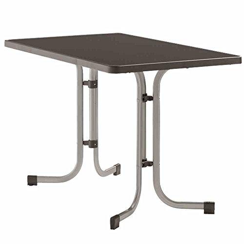 Sieger 233/A Boulevard-Klapptisch mit mecalit-Pro-Platte 115 x 70 cm, Stahlrohrgestell graphit, Tischplatte Schieferdekor anthrazit