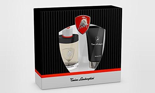 Invincibile by Tonino Lamborghini für Herren – 3-teiliges Geschenkset (75 oz EDT Spray, 147 ml Duschgel, 1 Stück Tasche