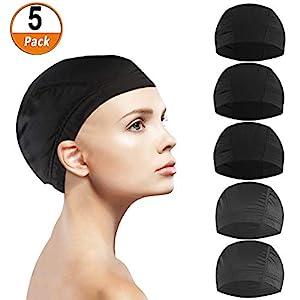 5 Unids Dome Cap peluca, Malla Spandex Elástica Antideslizante Redecilla Transpirable Soft Nature Weaving Cap para Hombres Mujeres para Ropa de Peluca (negro y translúcido)