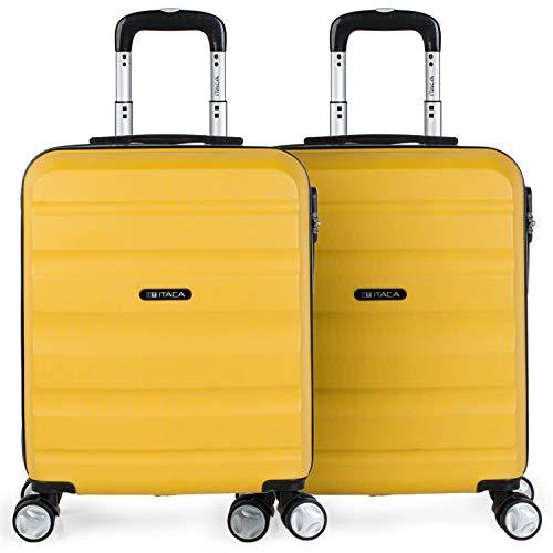 ITACA - Set 2 Maletas Pequeñas para Viaje en Pareja. Rígidas 4 Ruedas 55x40x20 cm Cabina Trolley ABS. Equipaje de Mano. Cómodas y Ligeras. Ryanair. Calidad y Diseño. T71650P, Color Mostaza/Mostaza