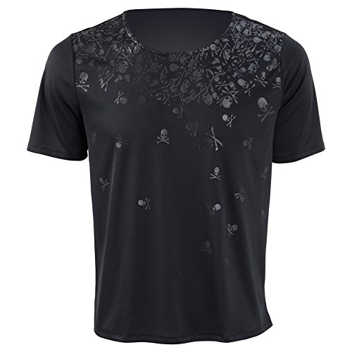 Herren Rundhals Ärmellos T-Shirt Kurzarm T-Shirt Cosplay Kostüm (L, Schwarz Kurzarm 2)