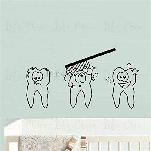 Muursticker kind baby tandenkwast muursticker badkamer decoratie tandverzorging thema muurtattoo tandwasgoed vinyl muurschildering 78 x 42 cm