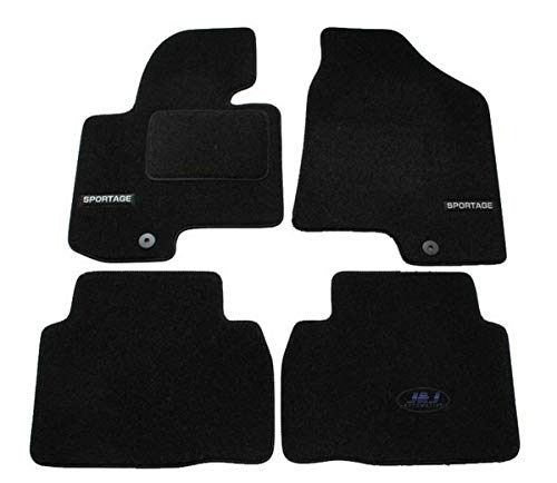 J&J AUTOMOTIVE | Logo Tapis De Sol Noir Velours sur Mesure Compatible avec Kia Sportage 2010-2015