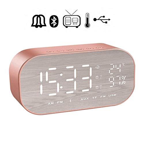 unknow Digital-Wecker Bluetooth Lautsprecher - Digitaluhr Bedside, FM Radio 4.2 Bluetooth AUX-TF-Karte Dimmbare Snooze-Thermometer, für Schlafzimmer, Büro, Kinder, Mädchen