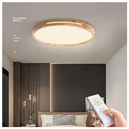LED Deckenleuchte 30w,Nordic Modern Holz Deckenlampe Φ38cm Runde Holz Wohnzimmerlampe Wohnzimmerleuchte Deckenbeleuchtung Holzlampe Deckenleuchten für Kinder, (Remote-Dimmen, Φ48cm * H6cm)