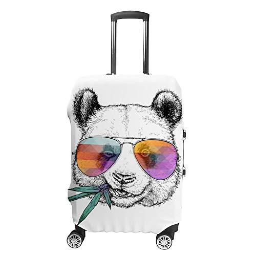 Chehong Reise-Koffer-Abdeckung, waschbar, staubdicht, wasserabweisend, Polyester, passend für 45,7-81,3 cm, Kratzfest, handgezeichnetes Porträt, lustige Panda-Brille, Bambus-Zweig, Koffer-Abdeckung