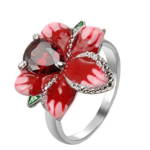 Ring,Meet&sunshine Rose Flower Garnet White Topaz Elegant Charm Gift Silver Ring Size 5-11 (B)