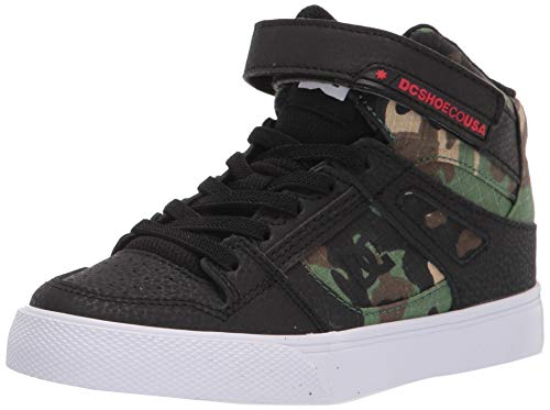 DC Boy's Pure High Top EV Skate Shoes with Ankle Strap and Elastic Laces, Black CAMO, 6 Big Kid