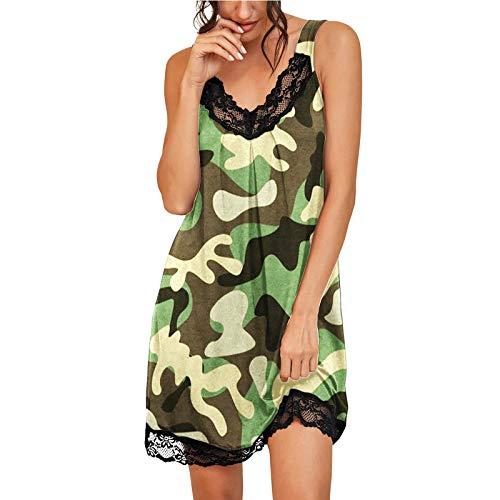 Damen Nachthemd Kurzarm Schlafanzug Sommer Nachtwäsche Seitensplit Schlafkleid Baumwolle Nachtkleid Kurz Sommer Schlafshirt Punkte Design