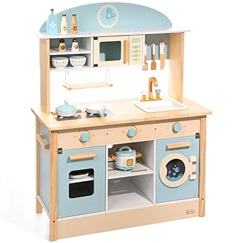ROBUD Play Kitchen for Toddlers Kids Playset Wooden Bright Pretend Cooking Set Gift Boys Girls