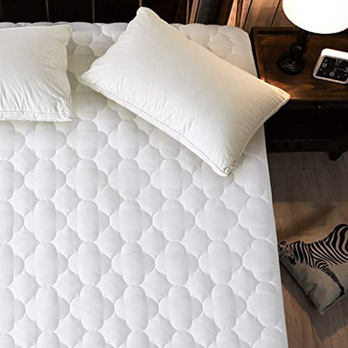 MEROUS Quilted Fitted Queen Mattress Pad Cooling Pillow Top Mattress Topper Hypoallergenic Down Alternative Fill Mattress Cover - Deep Pocket Fits up to 8'-21' - White, Four Leaf Clover Shape (Queen)