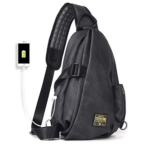 Teemzone Brusttasche Herren mit USB Ladeanschluss Wasserdicht iPad Messenger Bag Schultertasche Crossbody Bag zum Sport Reisen und Joggen Sporttasche Jungen Reise Daypack Schule Umhänge Rucksack Eintr