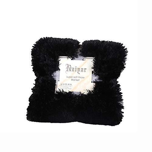 Colcha Kaisun 100% fibra de poliéster, ligera, mullida y larga, regalo para todas las estaciones, suave, felpa, cálida, perfecta para sofás (negro, 130 x 160 cm)