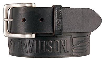 Harley-Davidson Men's Embossed Crosswind Leather Belt, Black HDMBT11334-BLK (38)