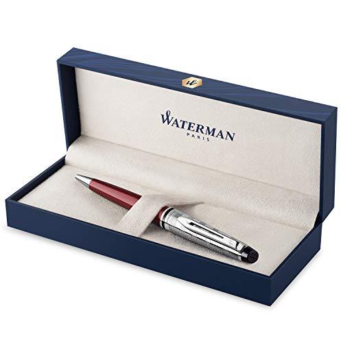 Waterman Expert Deluxe penna roller, rosso scuro con tappo cesellato, punta media con ricarica di inchiostro blu, confezione regalo