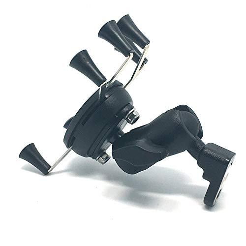 FUQUANDIAN Negro universal ajustable del sostenedor de la motocicleta espejo retrovisor de montaje 65 mm Con doble del zócalo del brazo for GoPro Lazy teléfono móvil GPS, cámara, acción Accesorios acc