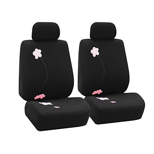 FH GROUP Funda de Asiento FB053102 (Compatible con airbag Bordado de Flores (Juego de 2) Negro)