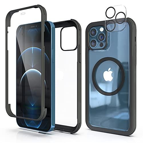 SAMCASE Vidrio Templado Funda con Protector de Pantalla Incorporado y Protector de Lentes de Cámara para iPhone 12 Pro, Carcasa Transparente 360 Grados Protección Compatible con Cargador de Magnético