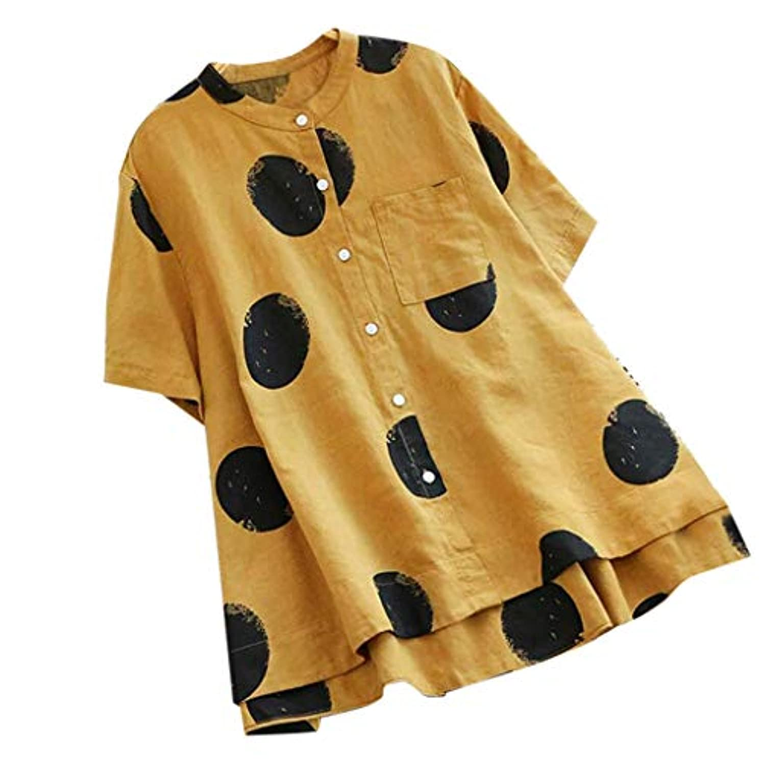 Women Loose Dot Short Sleeve Top, Lady Vintage Polka Print O-Neck T-Shirts Sexy Button Blouse Summer Casual Pocket Shirt