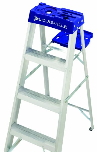 Louisville Ladder Louisville AS2100, 250 lb, 3 in Width X 3 in Depth Non-Conductive Rail, 5 Rung 6-Foot Aluminum Step Ladder, 250-Pound Capacity, AS2106, 6-Feet, 6 Ft