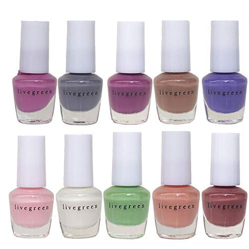 Live Green MINI Nail Polish Collection - Pack of 10 Mini Exclusive Nail Color Shades