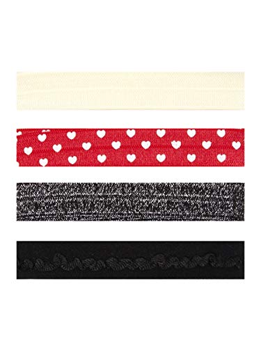 Cousin DIY 63500744 Fold Over Elastic Bands – Red and White Hearts, Black, Silver, 4pc