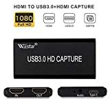 HDMI Capture USB Video Capture Card Device USB 3.0 Grabber Game Capture Recording Box with HDMI Loop-Out Stream and Record in Full HD 1080P60 Support Windows,Mac OS and Linus System