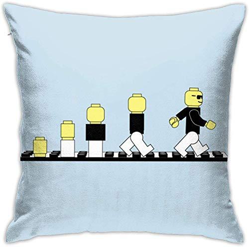 MODORSAN Evolution of Lego Man Throw Home Dormitorio Decoración para el hogar Funda de Almohada Cuadrada de 18 x 18 Pulgadas