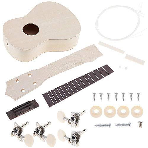 Ukulele ZWRY 21 pulgadas Ukelele DIY Kit Bass wood Soprano Hawaii Guitarra con agujero de sonido Pintura para Padres-Hijo Campaña Tipo F