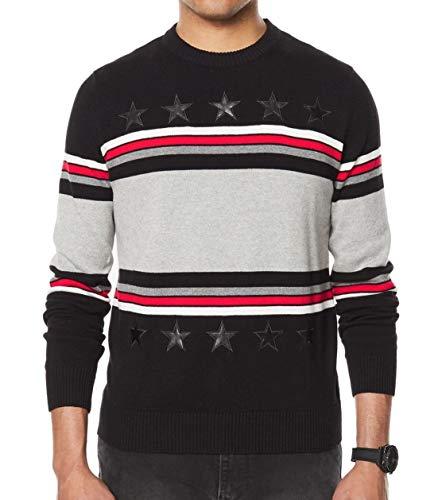 Sean John Mens Big & Tall Striped Faux-Leather Trim Pullover Sweater Black 3XL