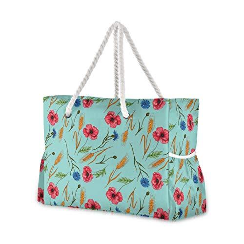 Mnsruu Bolso de mano, amapolas de acuarela, bolso de playa de hombro grande, asas de cuerda de algodón, bolsa de viaje para mujer