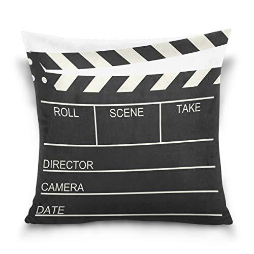 Use7 Funda de almohada decorativa funda de cojín cuadrada funda de almohada, viejo cine película Clapboard sofá cama funda de almohada funda doble cara, tela, Varios Colores, 40 x 40cm/18 x 18 Inches