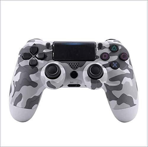 PS4 Gaming-Controller, Bluetooth Wireless Gamepad Joystick für Playstation 4, Doppel-Vibrationsmotor, LED-Lichtleiste, klassisch, rutschfest, Camouflage, Weiß
