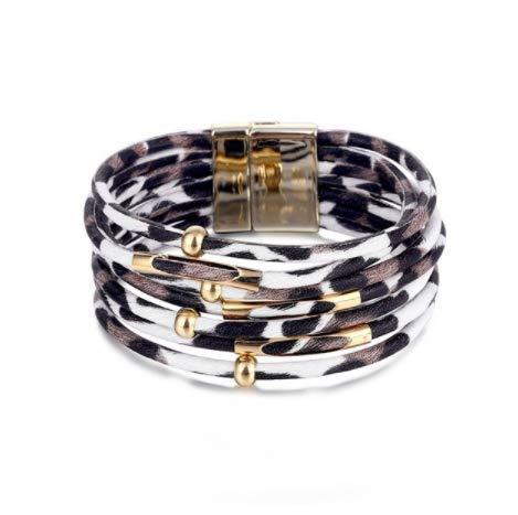 Pulseras de Leopardo de la Vendimia para Las Mujeres Pulseras de Cuero de la Moda y brazaletes Envuelva la joyería de la Pulsera,w